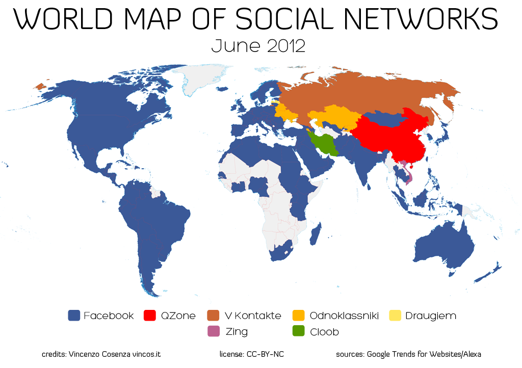 Map of social network use around the world
