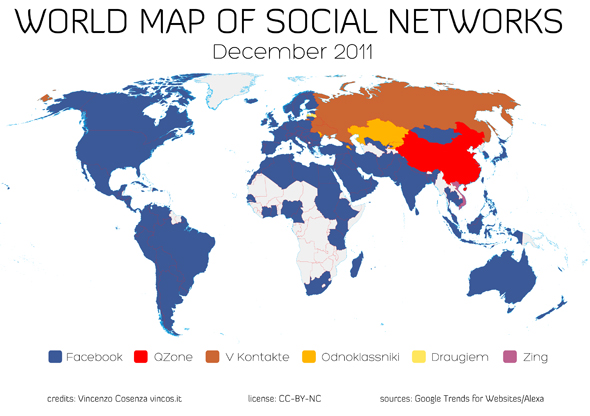 World Map of Social Networks - december 2011