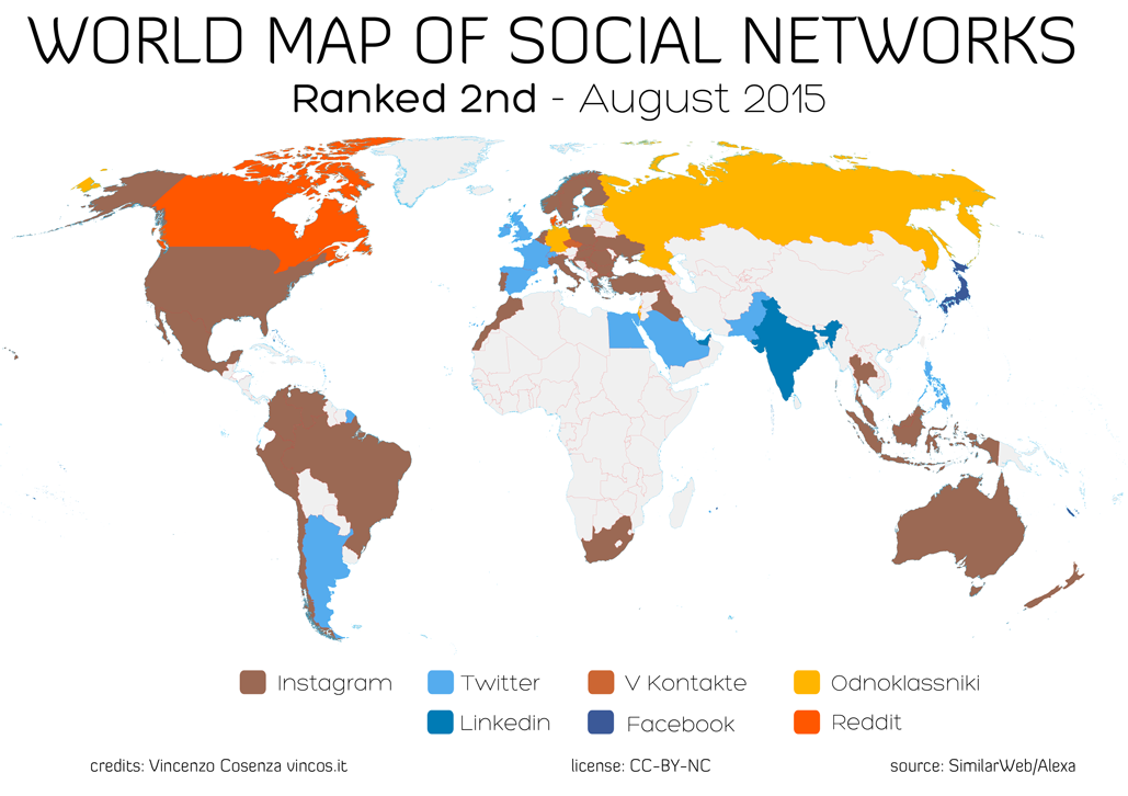 World map of social networks reddit is strong in canada and denmark vkontakte is 2nd in czech republic while facebook is fighting twitter in japan gumiabroncs Images