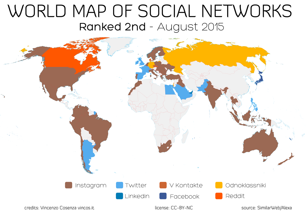 world map of social networks ranked second