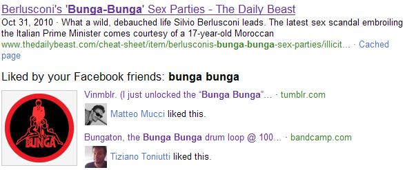 """Risultati di Bing per la ricerca """"bunga bunga"""": news + preferenze dei propri amici"""