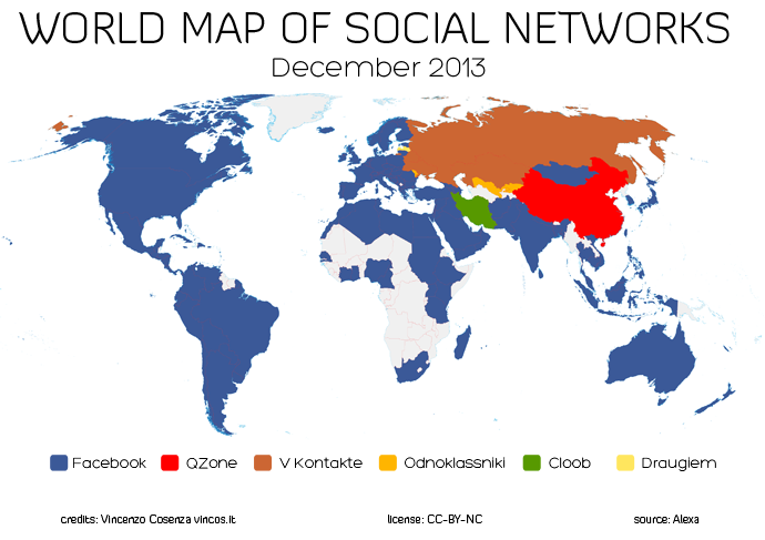 World Map of Social Networks December 2013