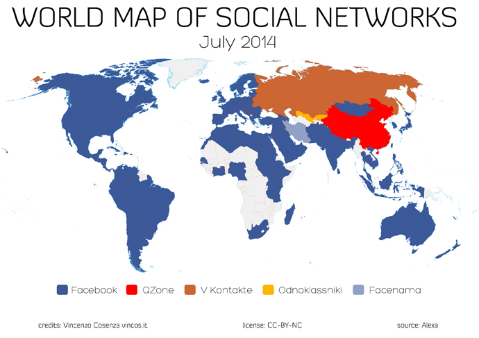 World map of social networks july 2014