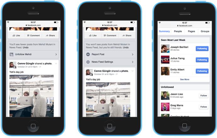 Facebook: nuove opzioni per scegliere cosa seguire