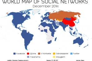 La mappa dei social network nel mondo – dicembre 2014