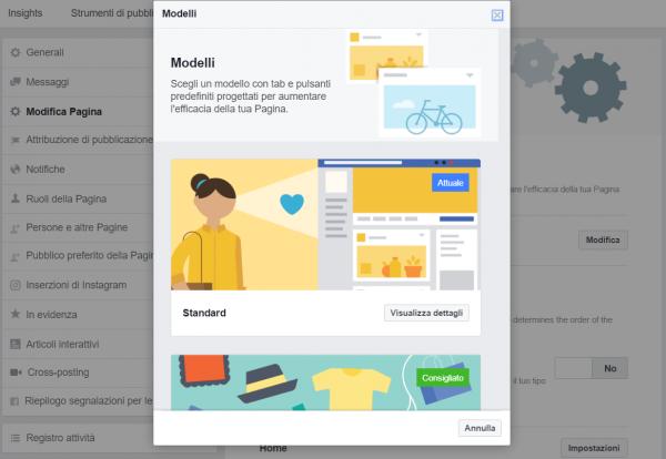 pagina facebook modelli templates