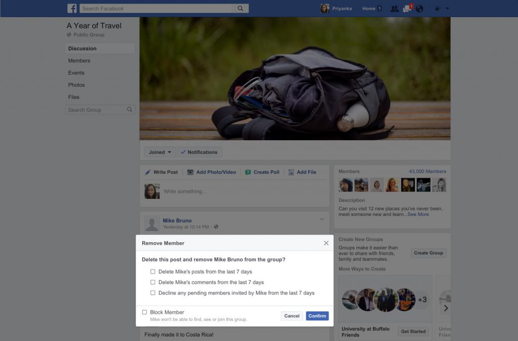 filtro rimozione membri facebook