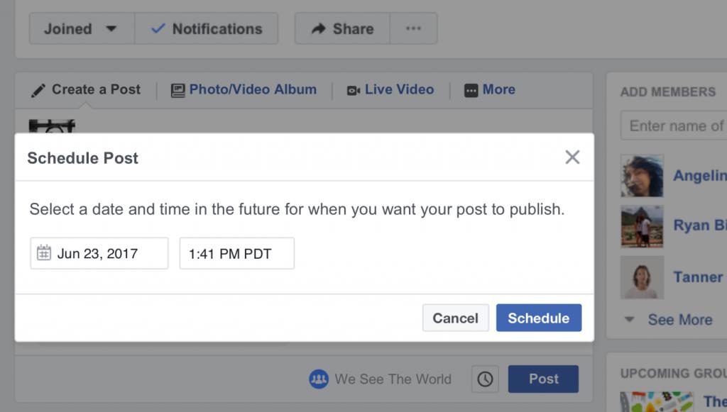 programmazione post gruppi facebook