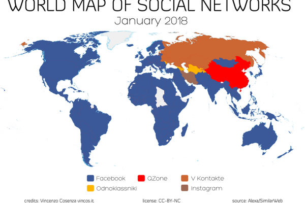 world map of social networks 2018