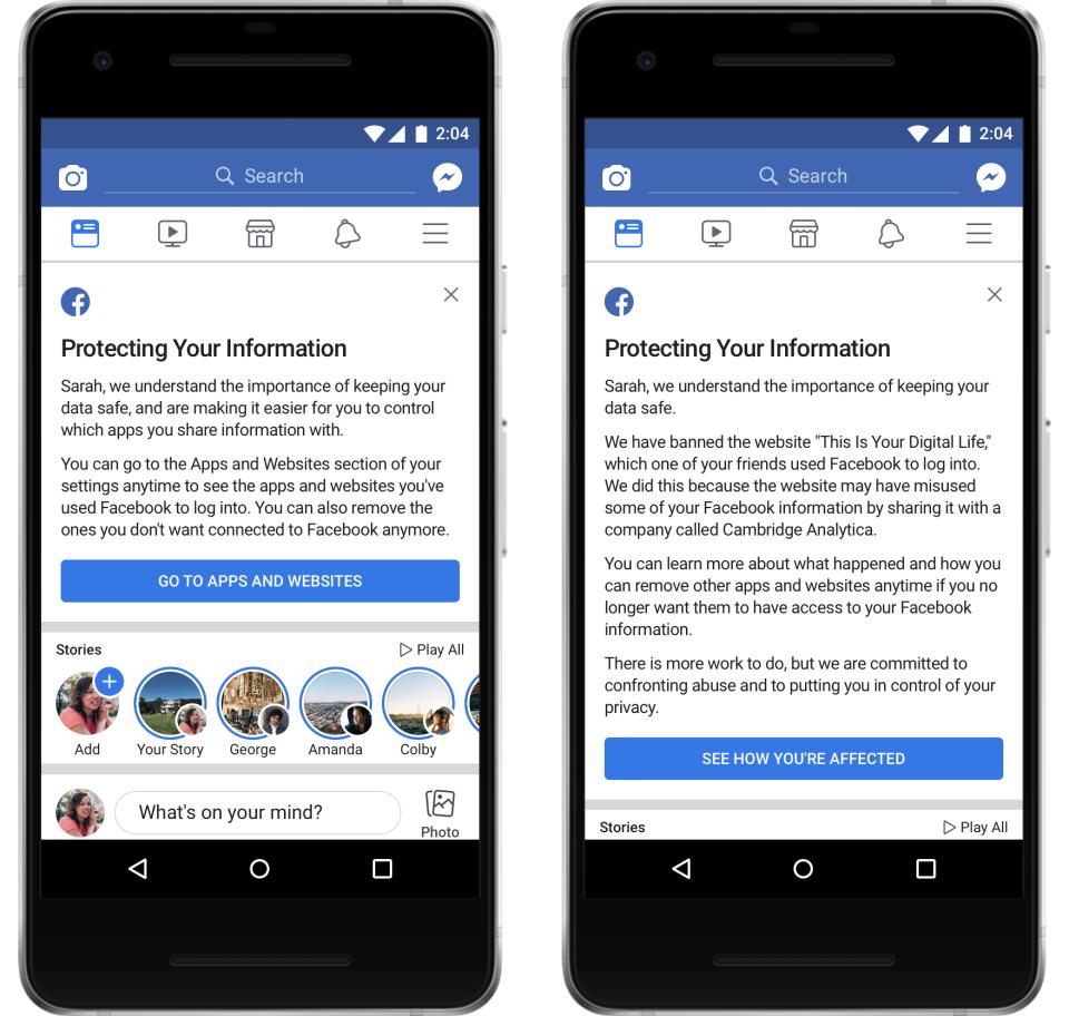 facebook avviso applicazioni usate