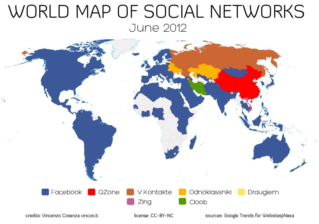 Světová mapa sociálních sítí