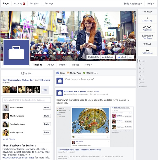 Facebook pagine 2014