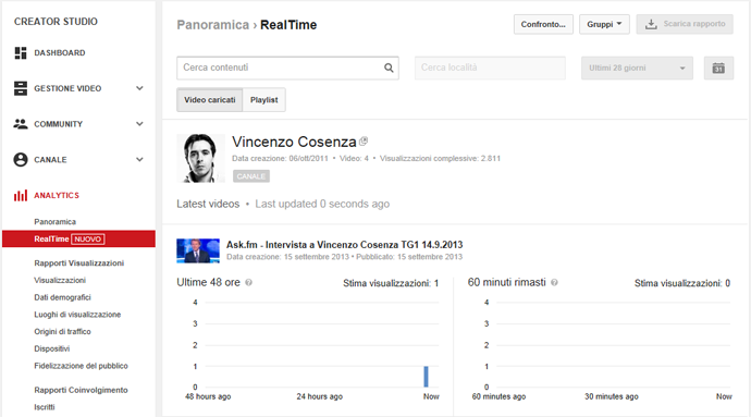 youtube real time analytics