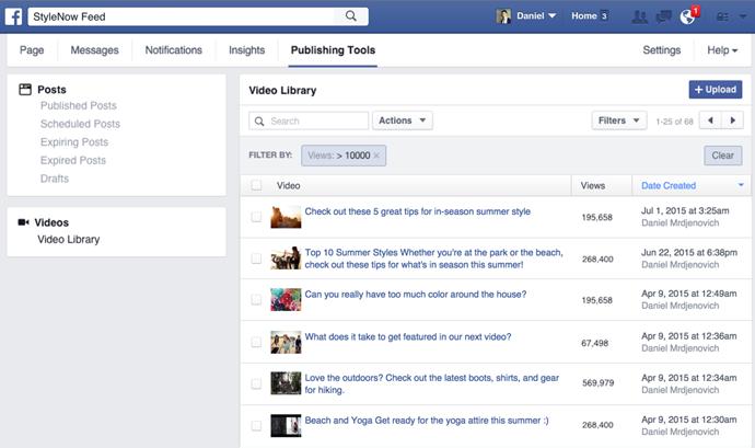 facebook video library