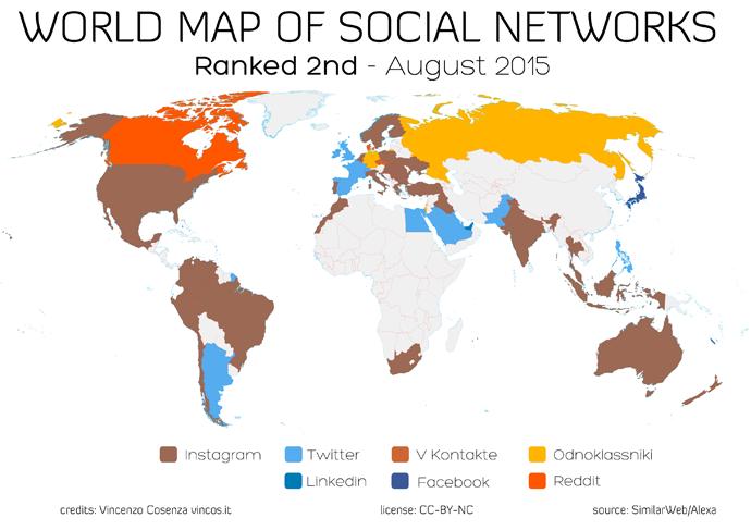 mappa dei social network che seguono facebook