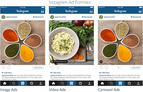i formati della pubblicità su instagram