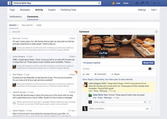 facebook activity tab