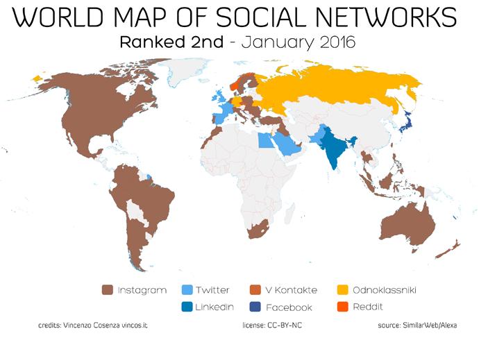 mappa dei social network secondi dopo facebook