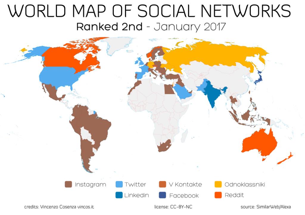 mappa mondiale dei social network al secondo posto per nazione