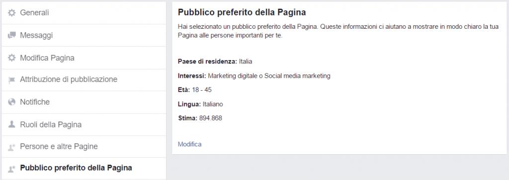 pagina facebook pubblico preferito
