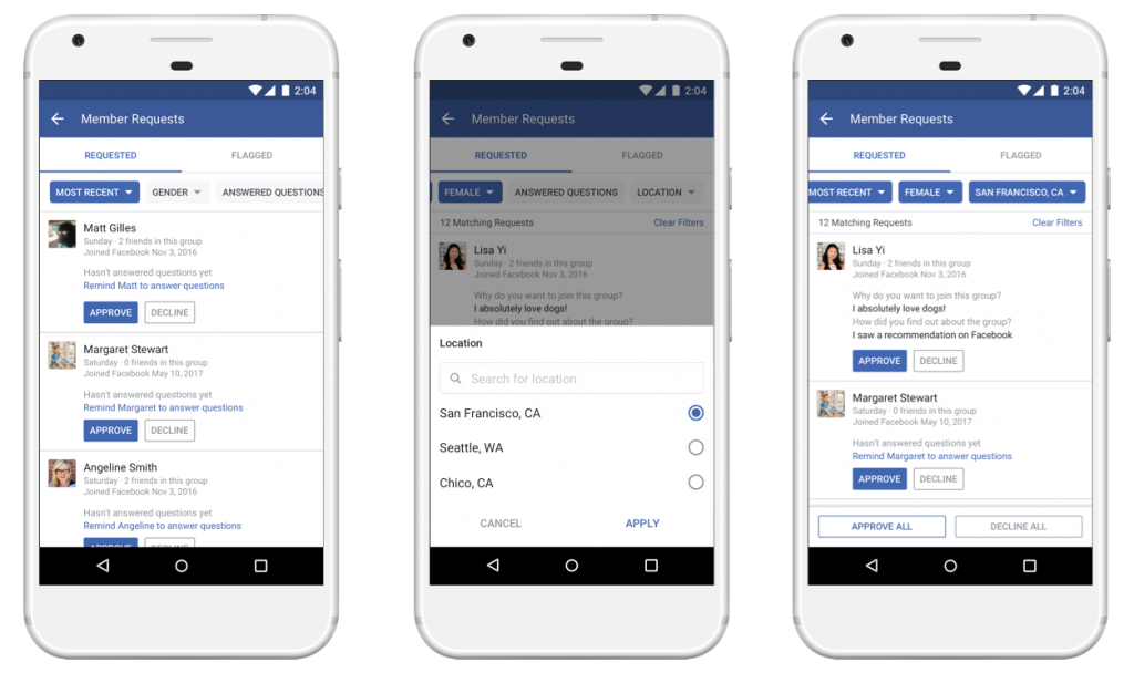 filtro membri facebook