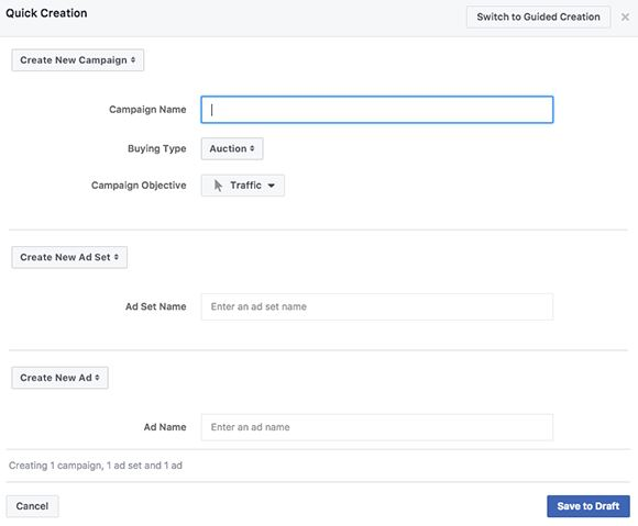 facebook ads manager quick creation tool