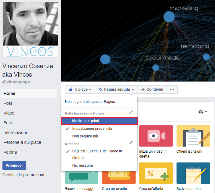 facebook come seguire pagina