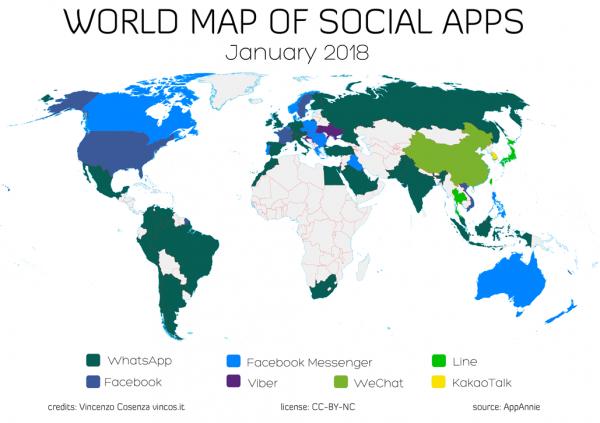 Mappa Social App nel mondo 2018