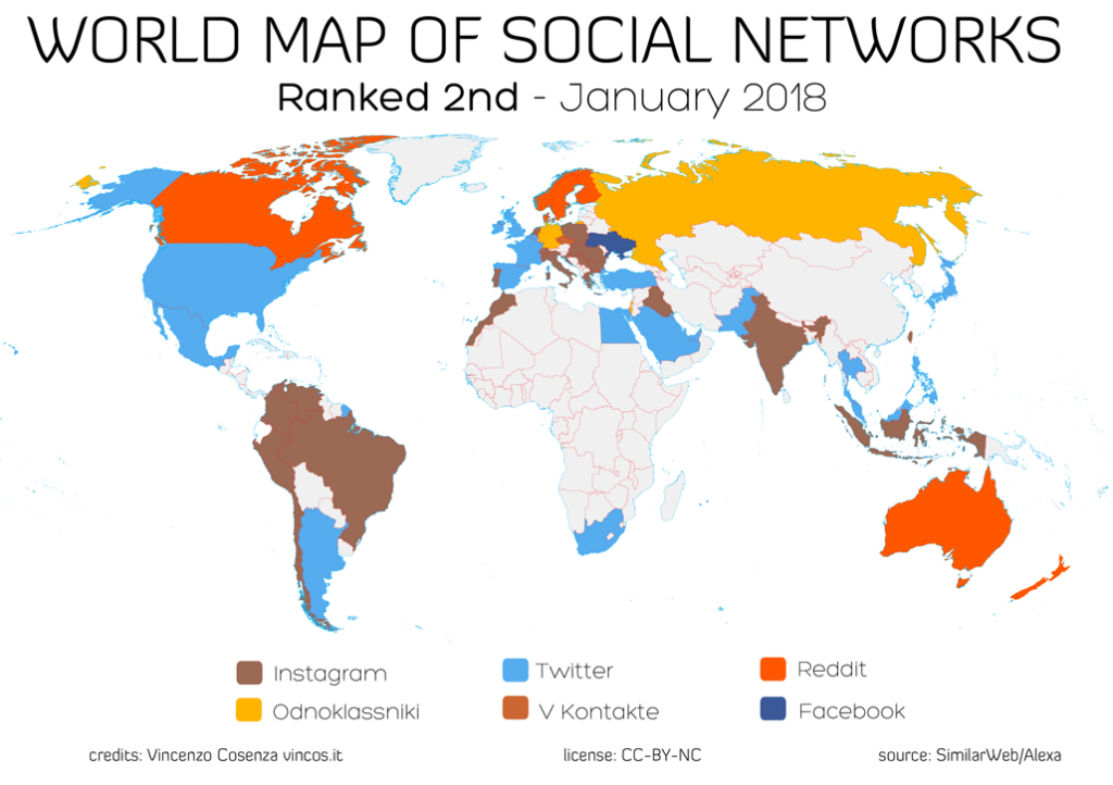 world map of social networks ranked second 2018