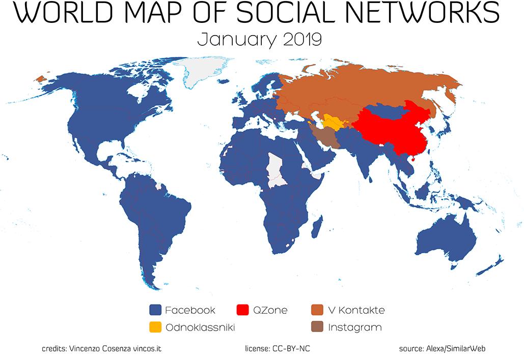 mappa mondiale dei social network 2019