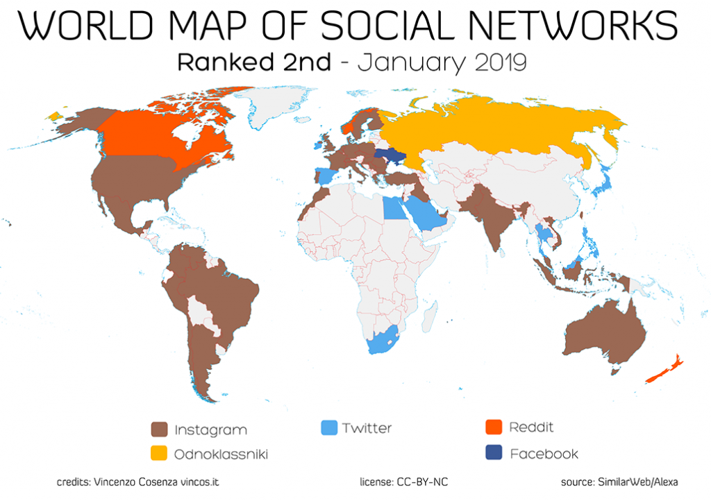 Picture of: World Map Of Social Networks