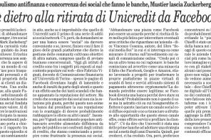 Unicredit lascia Facebook: intervista su Il Foglio