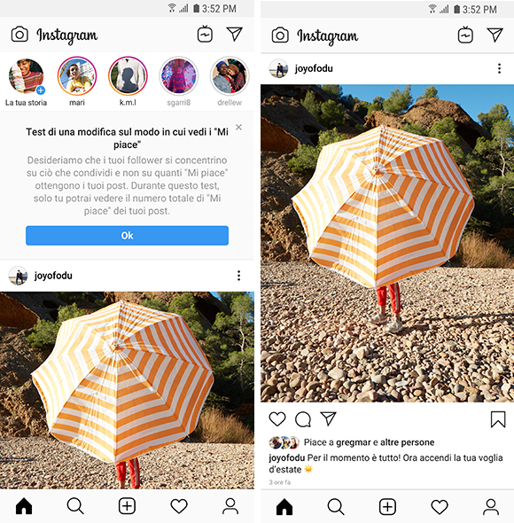 instagram nasconde i like in Italia