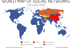 La mappa dei social network nel mondo – gennaio 2020