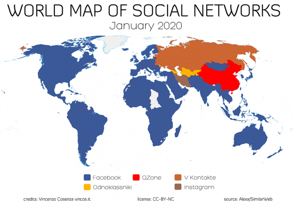 world map of social networks 2020