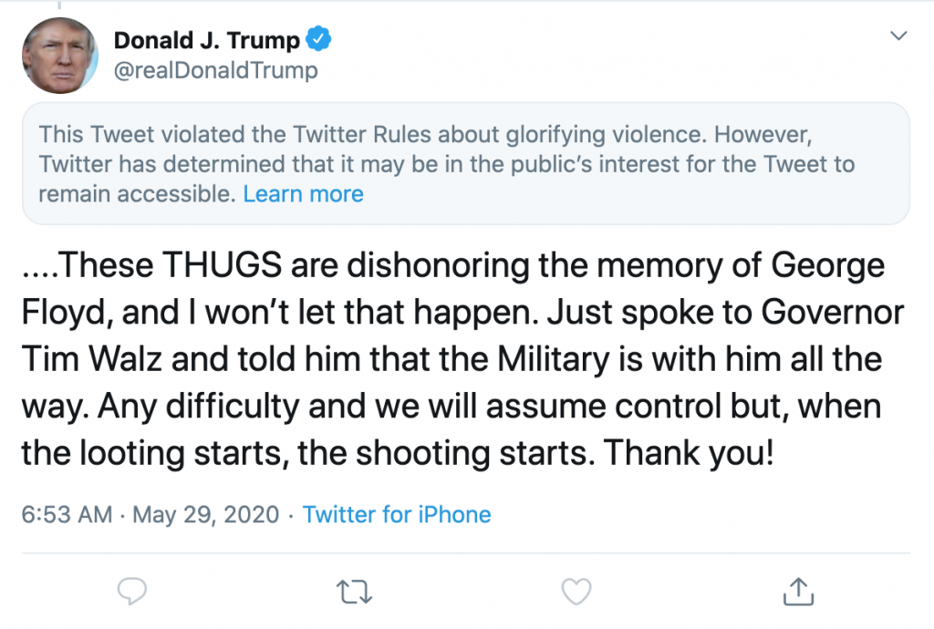 trump tweet del 29 maggio segnalato da twitter