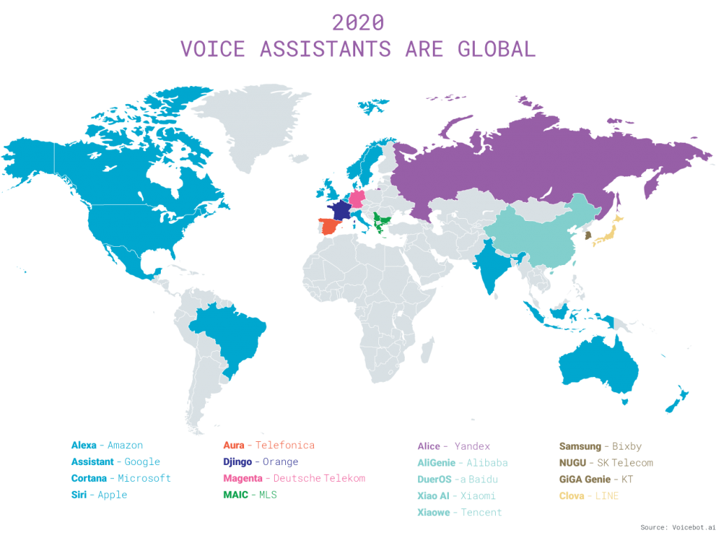 mappa mondiale assistenti vocali intelligenti