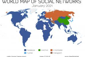 La mappa dei social network nel mondo – gennaio 2021