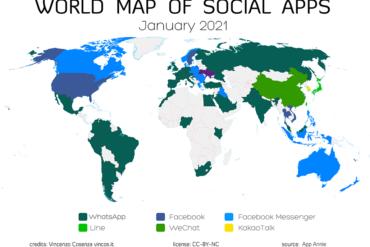 La mappa delle app più usate nel mondo – 2021
