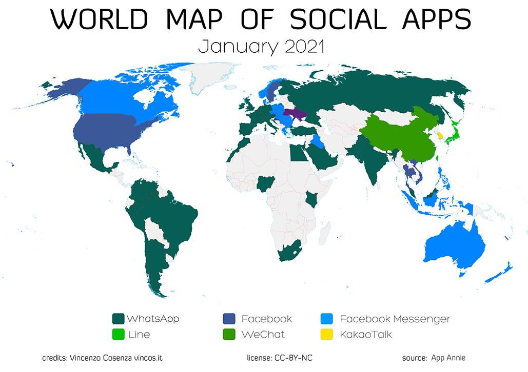 mappa app più usate mondo 2020